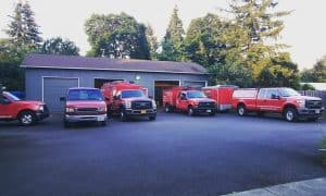fleet of air duct cleaning trucks